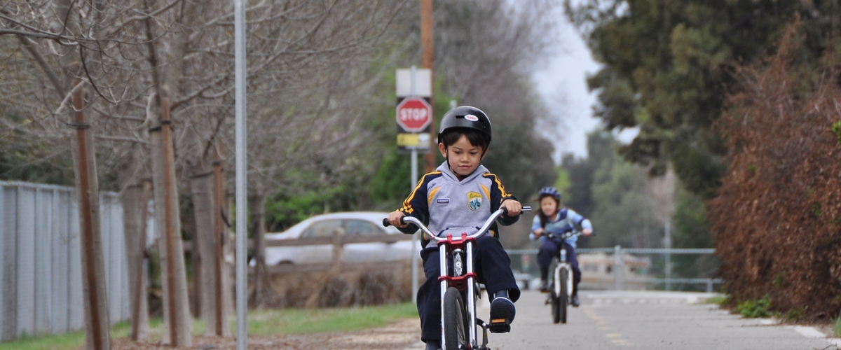 Young dark haired boy riding bike on a paved path, girl on bike behind him