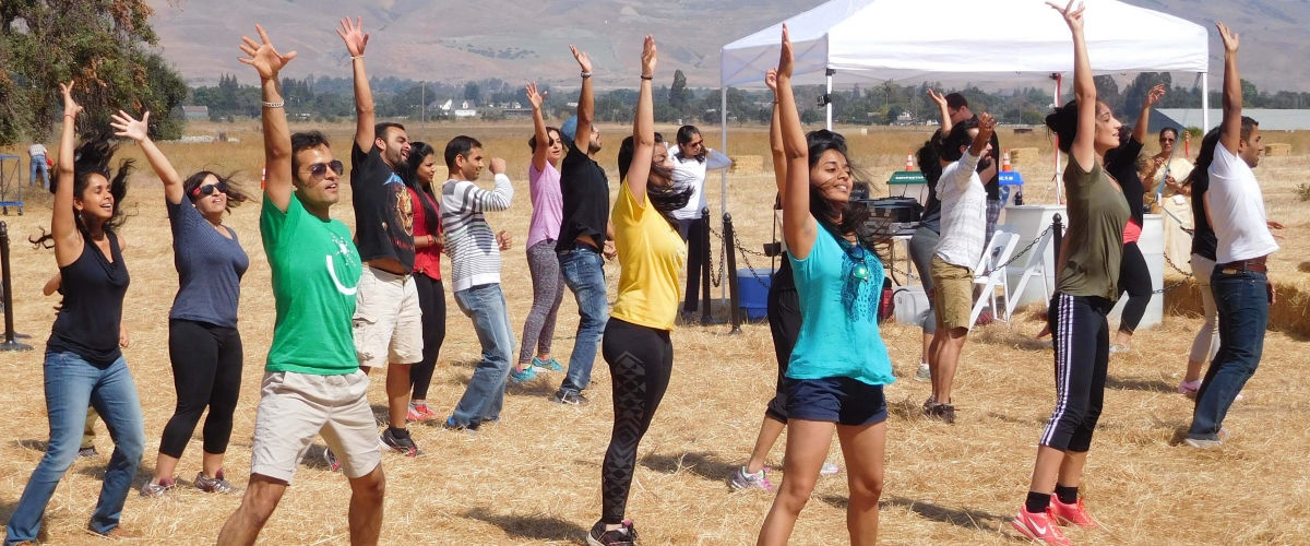 Group of dancers in grassy field at community event