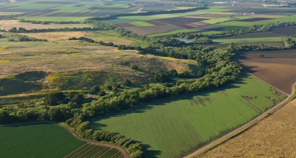 Patchwork of agricultural fields with tree-lined river curving through landscape