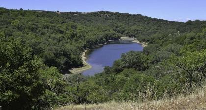 Blue pond in the bottom of rolling golden hills and oak woodlands under blue sky