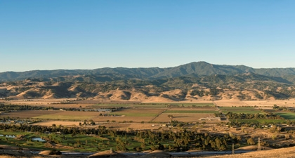 Panorama view of Coyote Valley's fields looking across to foothills and Santa Cruz Mountains