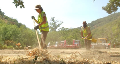 Open Space Technicians doing fire prep work at Palassou Ridge Preserve