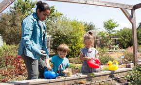 Family at community garden